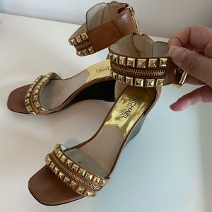 Michael Kors studded brown ankle strap sandal